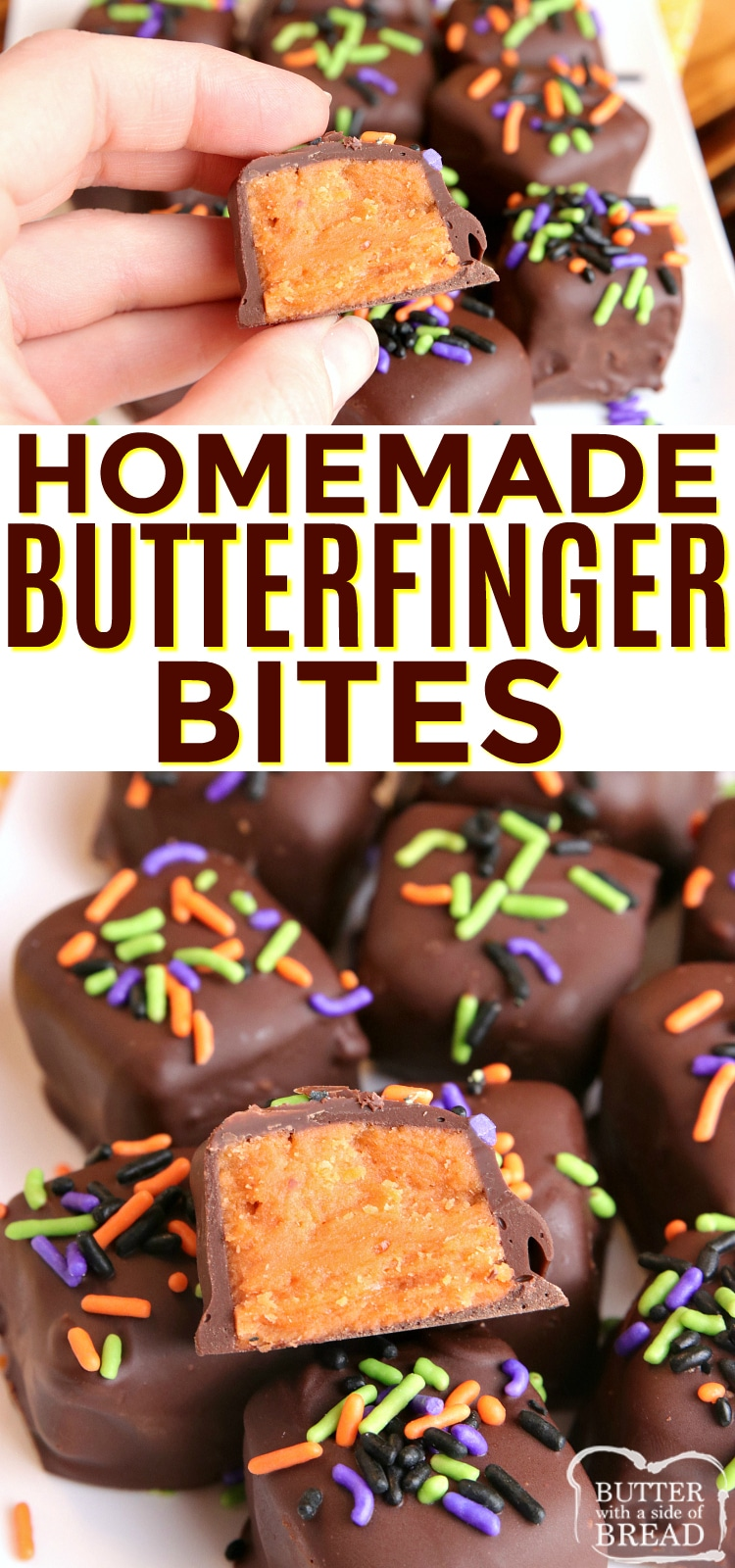 Homemade Butterfinger Bites are made with candy corn, peanut butter and chocolate. Miniature Butterfinger candy bars made in the microwave with only 3 ingredients!
