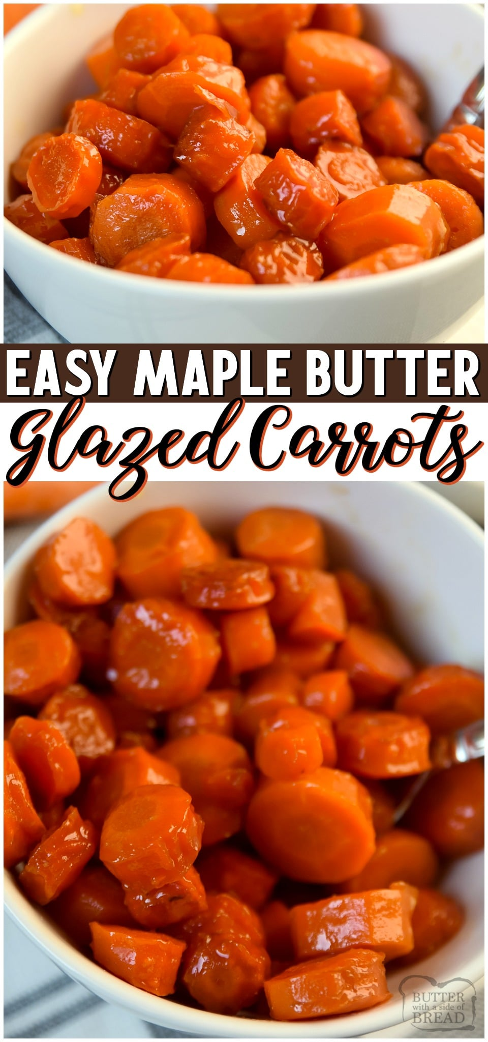Maple Glazed Carrots~ tender, sweet & the perfect easy vegetable side dish. Glazed Carrots simmered in a sauce of maple syrup and butter & are so simple to make!