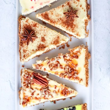 4 delicious flavors of homemade cheesecake made conveniently on a sheet pan! Serve up these 4 Sheetpan Cheesecakes at your next holiday party and watch them disappear!