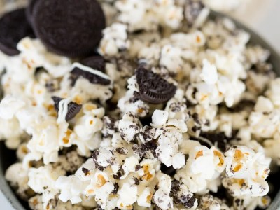 Cookies and cream popcorn in a bowl