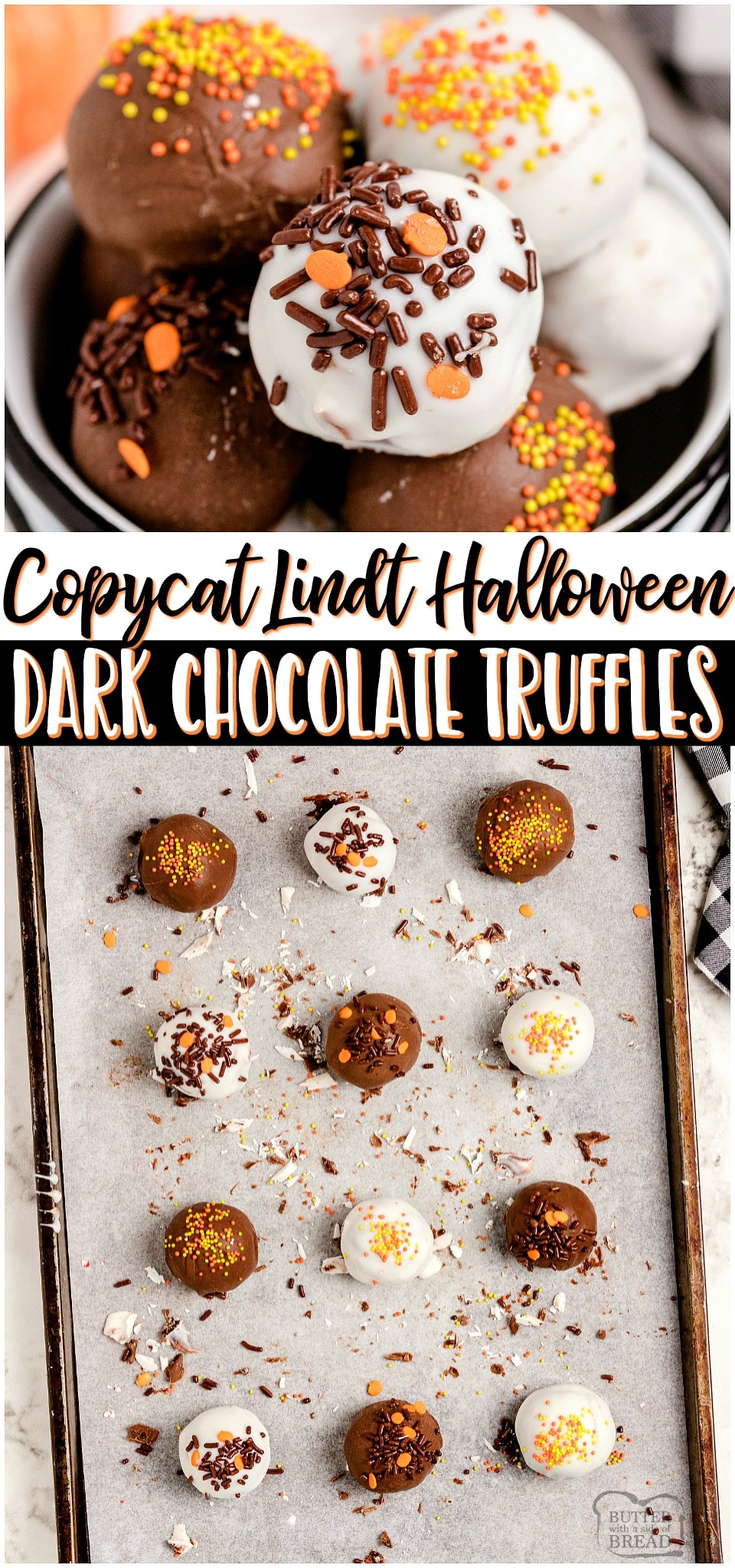 Homemade Halloween Lindt Dark Chocolate Truffles made with just 5 ingredients and SO amazing! Chocolate chips, heavy cream and butter combine for a rich & smooth luscious chocolate truffle filling that rivals Lindt's! Chocolate lovers must try these festive Halloween Truffles!