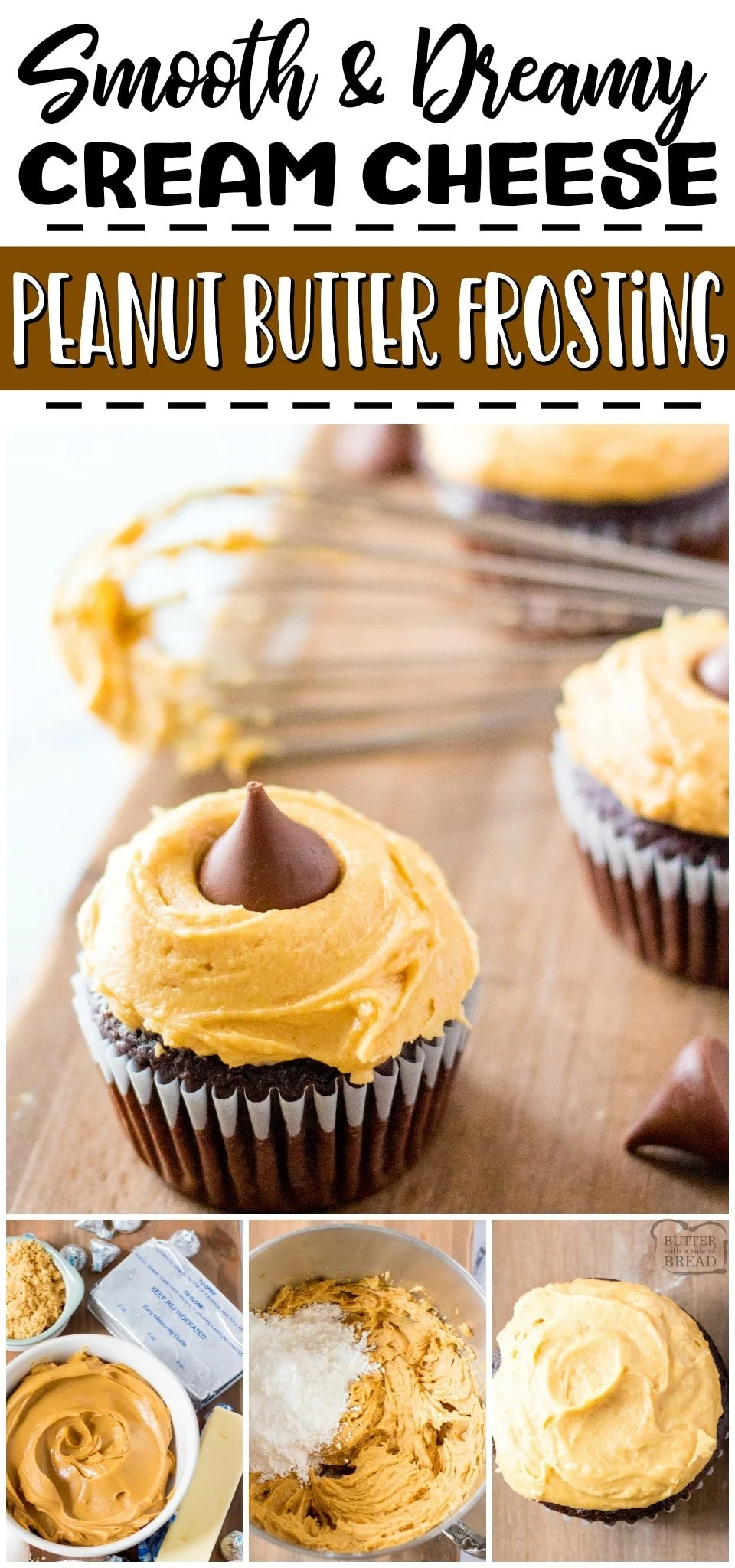 Peanut butter cream cheese frosting is a salty sweet, flavorful frosting recipe that you're going to love! Cream Cheese & peanut butter combine for a deliciously fluffy, smooth peanut butter frosting that is perfect on cupcakes, cakes, cookies & more!#peanutbutter #frosting #creamcheese #dessert #buttercream #easyrecipe from BUTTER WITH A SIDE OF BREAD