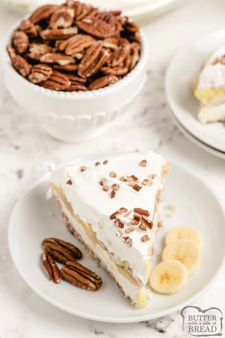 Slice of creamy banana pecan pie