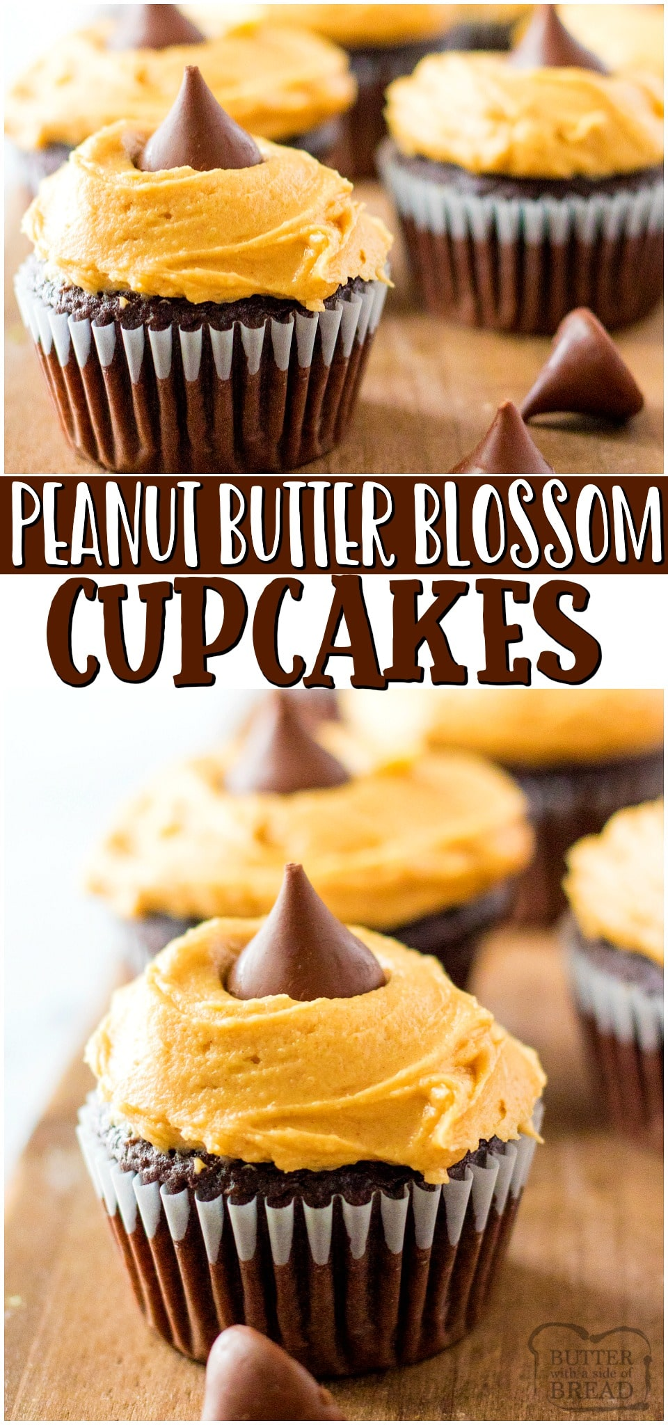 Peanut butter blossom cupcakes~ a fun twist on traditional peanut butter blossom cookies! Chocolate cupcakes topped with Peanut butter cream cheese frosting & a chocolate kiss are a delicious treat!