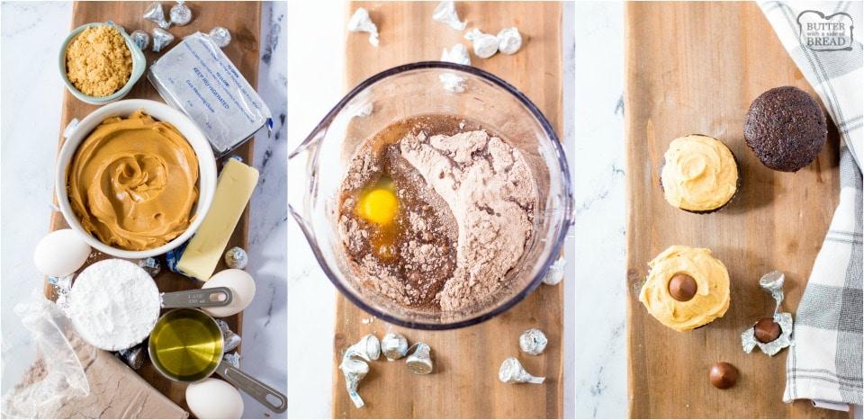 how to make Peanut Butter Blossom Cupcakes recipe