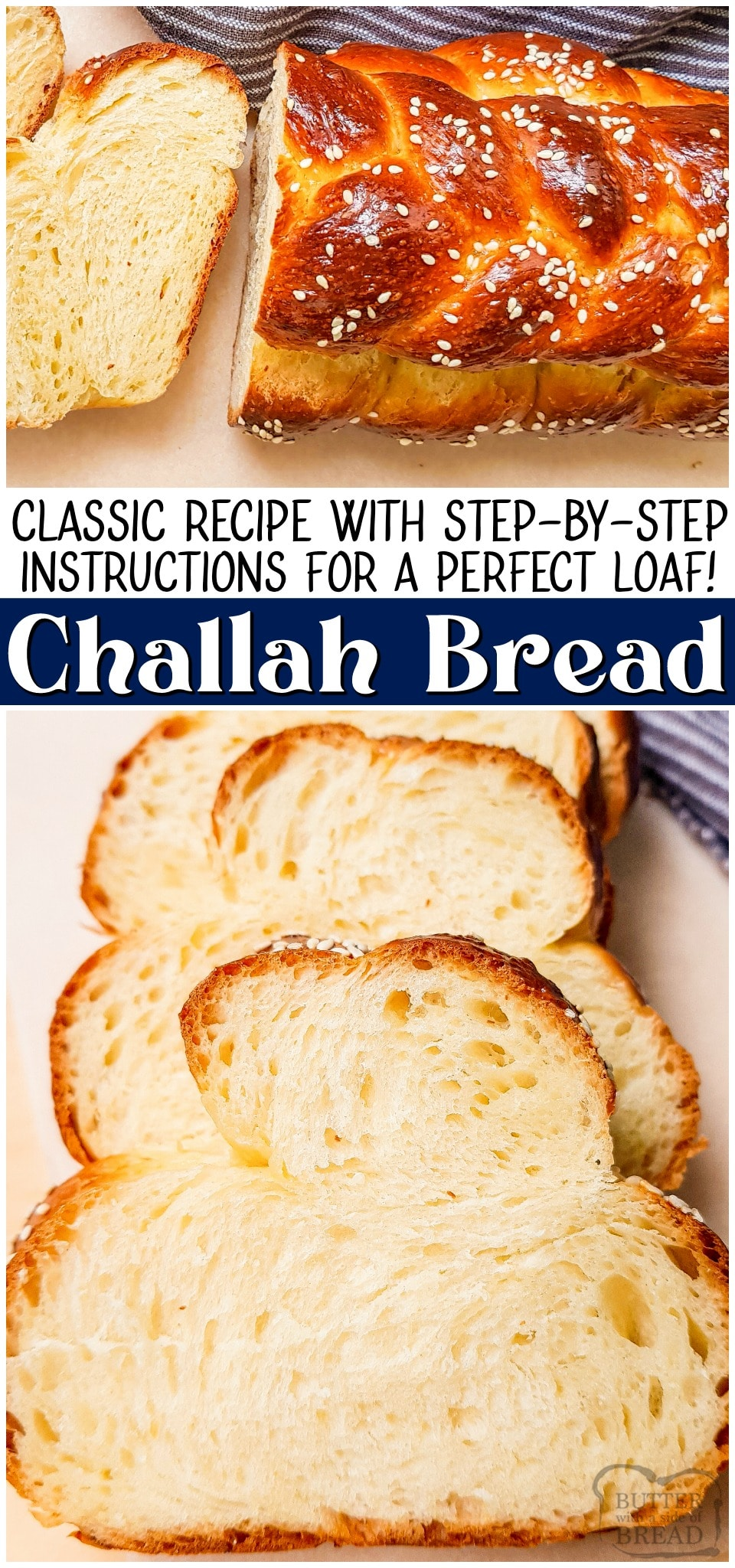 Classic Challah Bread recipe made with flour, milk & eggs. Easy Challah with step-by-step instructions for perfect bread with a lovely soft, feathery texture. #challah #bread #eggs #baking #homemade #easyrecipe from BUTTER WITH A SIDE OF BREAD