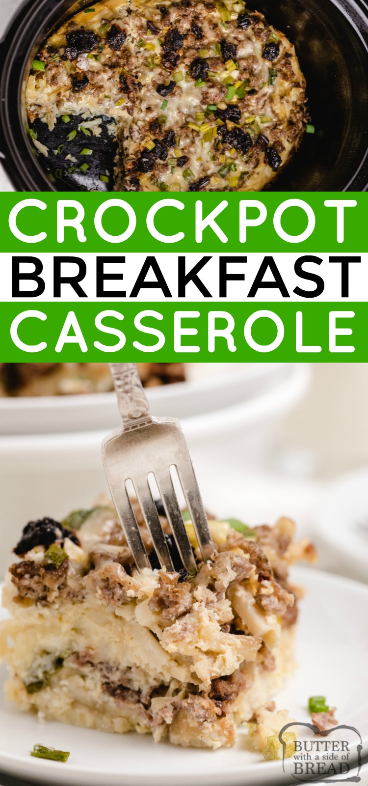 Crockpot Breakfast Casserole cooks overnight to be ready when you wake up in the morning! Slow Cooker Breakfast casserole recipe is a high protein breakfast made with hash browns, sausage, cheese, eggs and veggies.