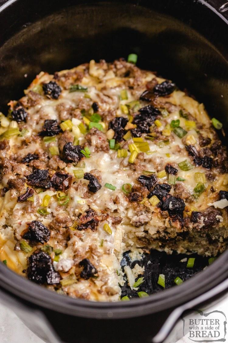 Breakfast casserole recipe made in a crockpot