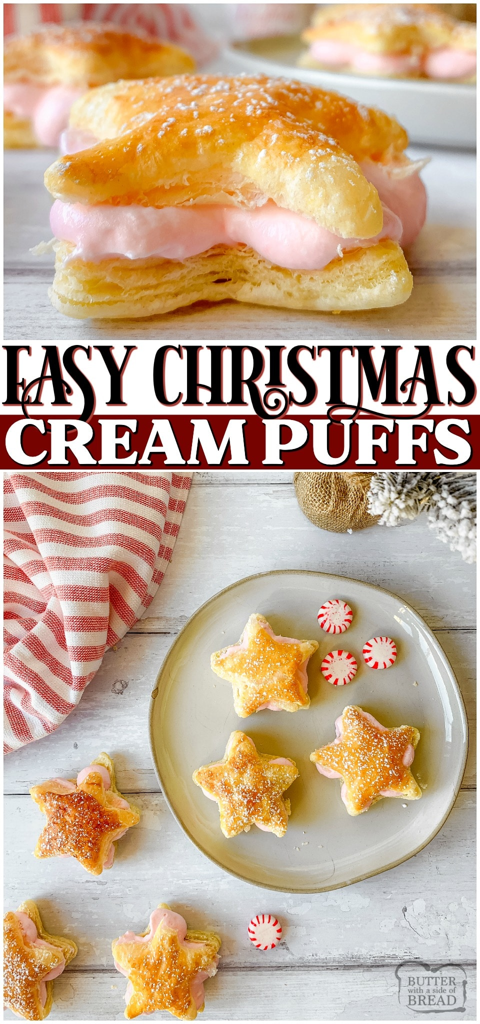 Peppermint Cream Puff Stars are a simple, 4-ingredient cream puffs perfect for Christmas! With cute peppermint filled puff pastry stars, you can have a festive dessert that's so easy to make!