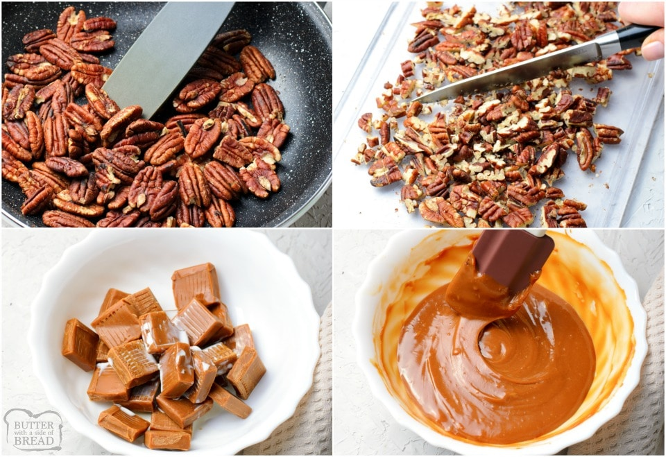 how to make turtle candy with caramel, nuts and chocolate