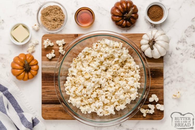 Ingredients in maple pumpkin spice popcorn recipe