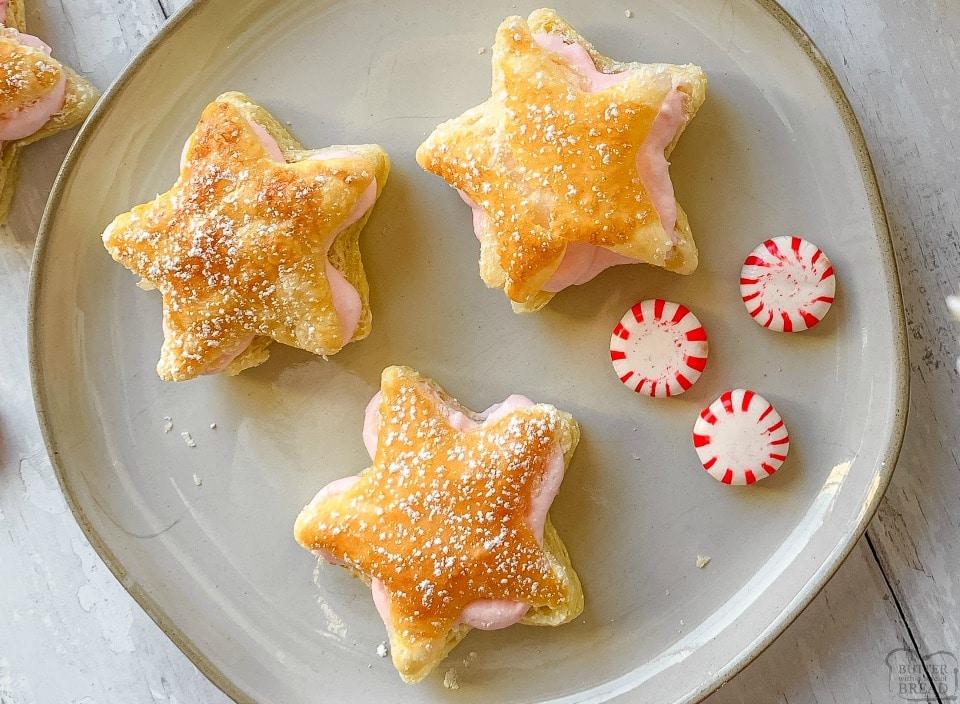 Christmas Star Peppermint Cream Puffs easy recipe