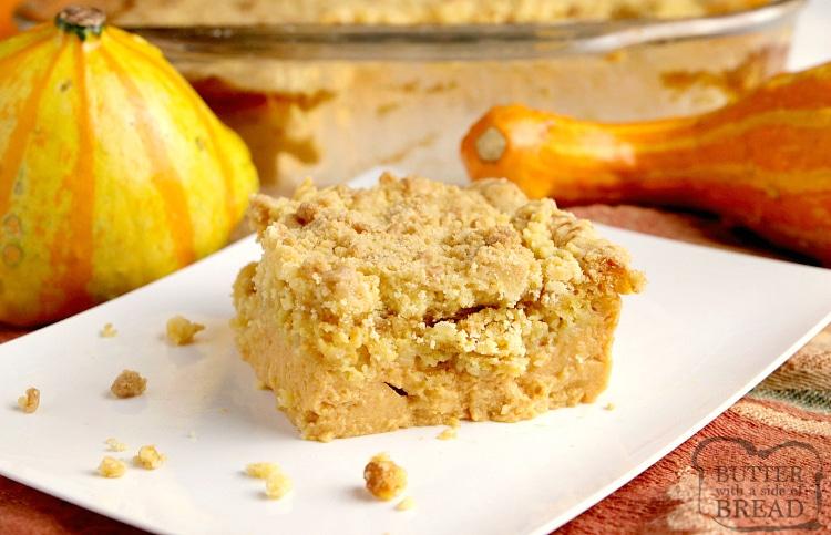 Easy dump cake recipe made with pumpkin pie mix