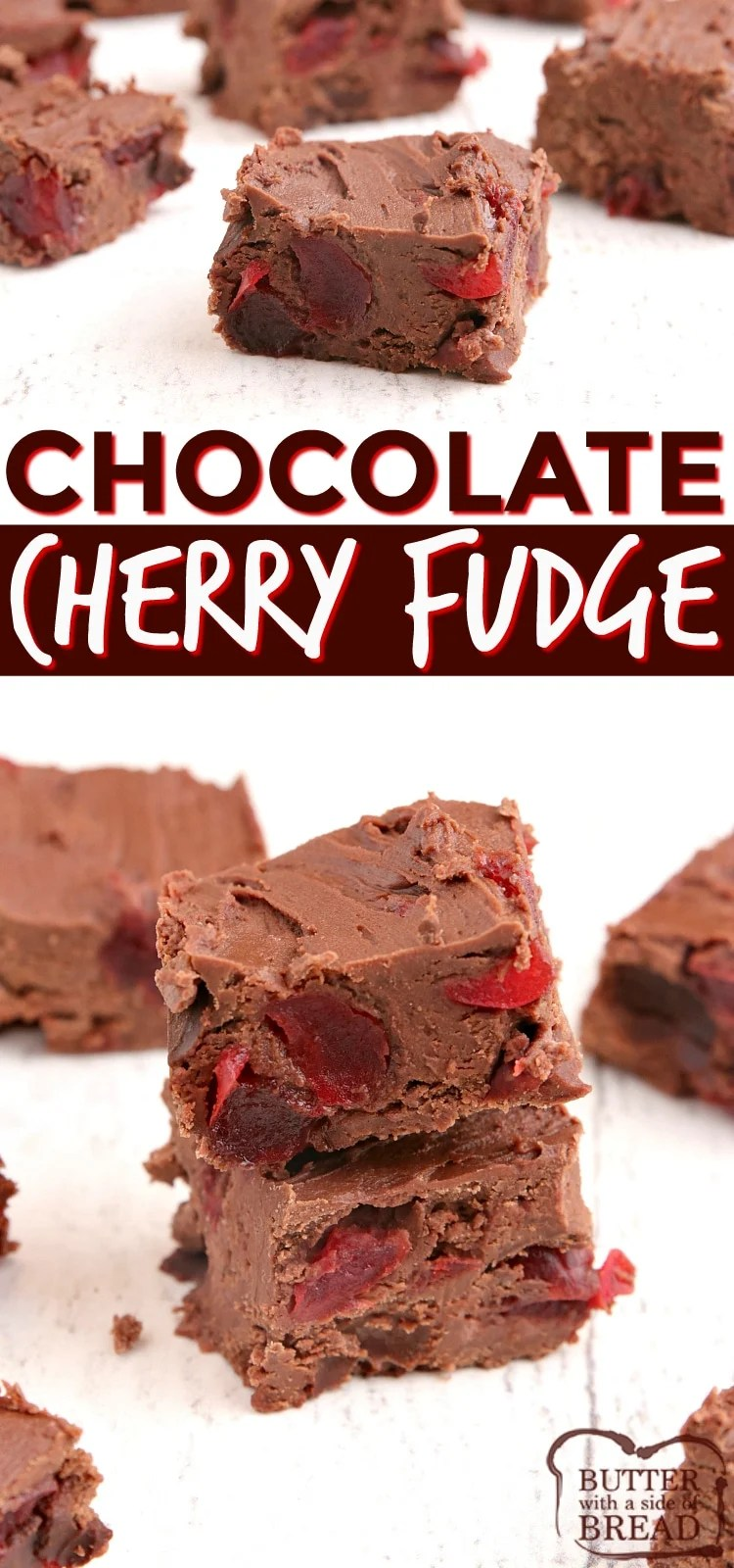 Easy Cherry Chocolate Fudge made with three ingredients in the microwave in less than 3 minutes! Easy fudge recipe ever with tons of cherry and chocolate flavor - no boiling or candy thermometers needed.