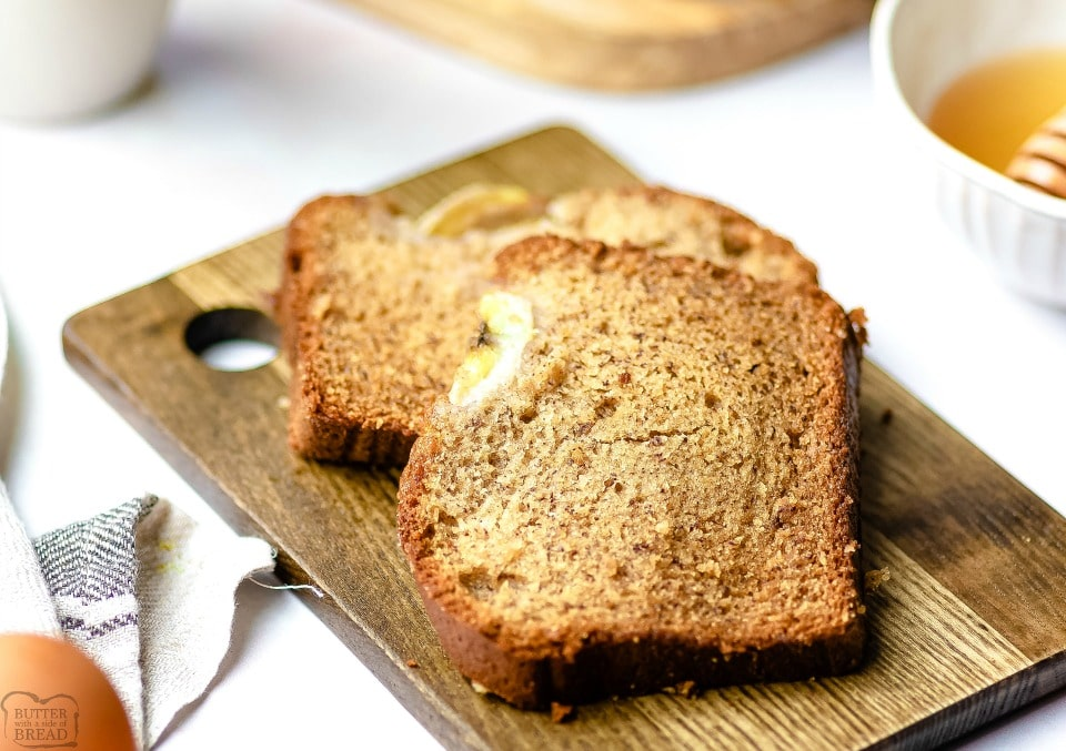 Moist Banana Bread Recipe made with all butter