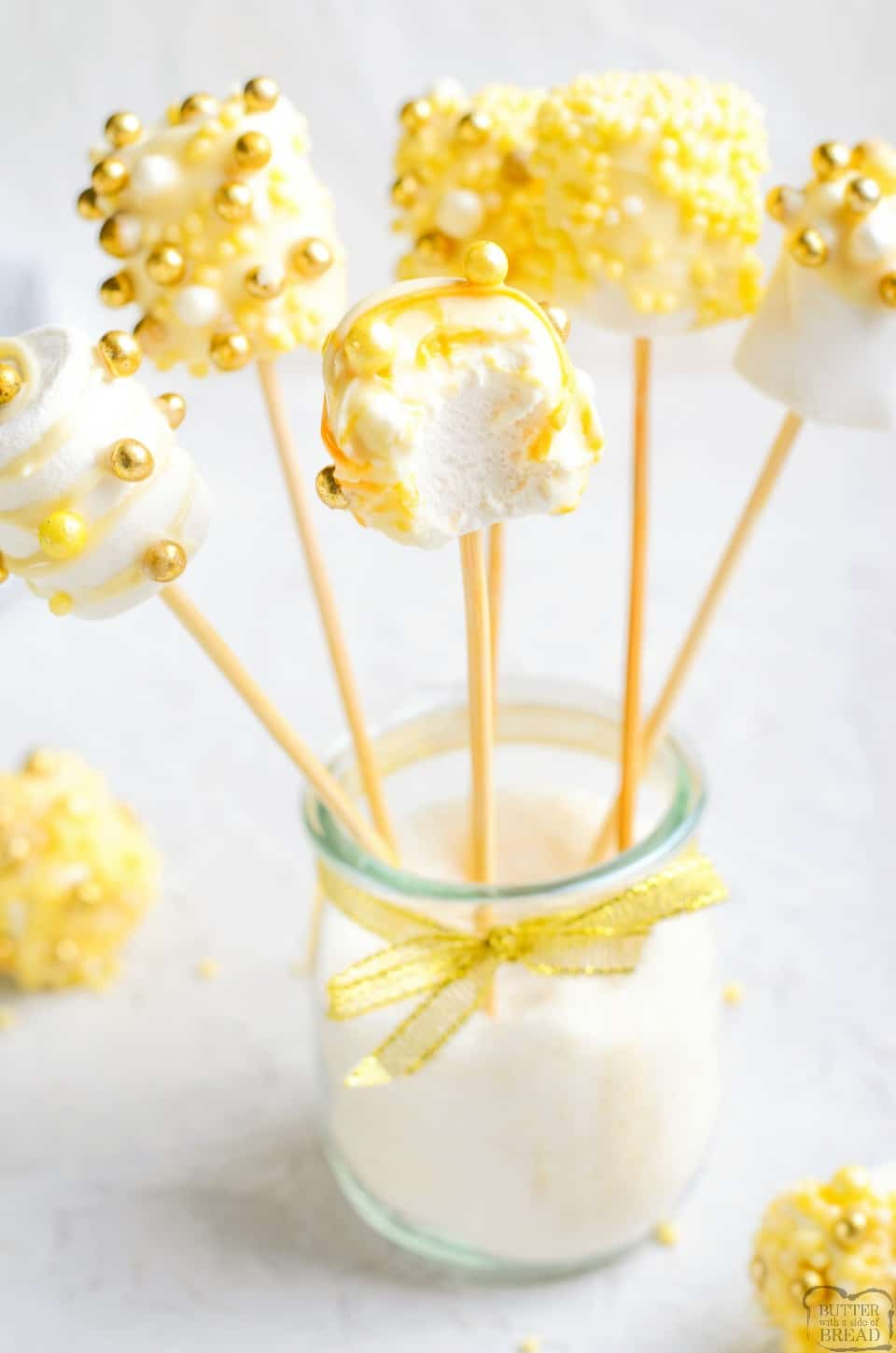 white chocolate marshmallow pops for New Years