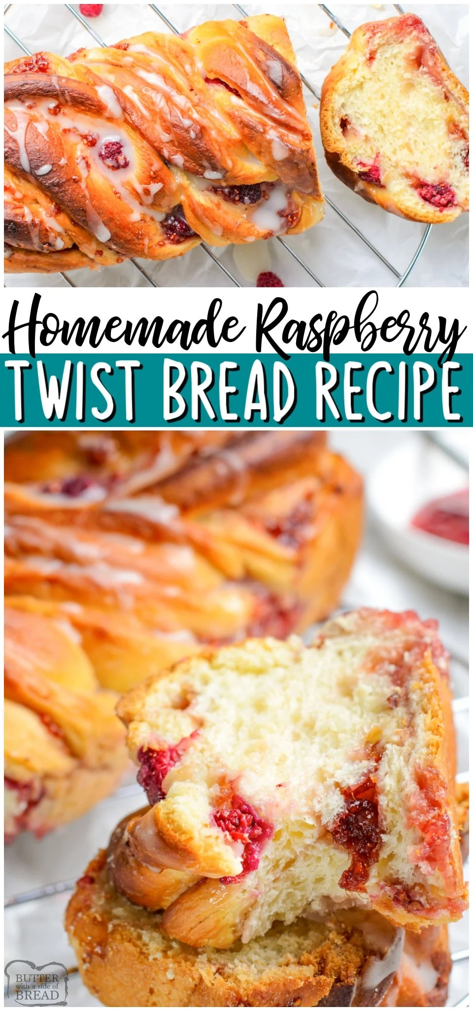 Raspberry Twist Bread is a delicious loaf of homemade sweet bread swirled with raspberry jam. Served with lemon icing and brioche-style dough this bread is perfect for breakfast or dessert! #bread #raspberry #twist #baking #breadrecipe #sweetbread from BUTTER WITH A SIDE OF BREAD