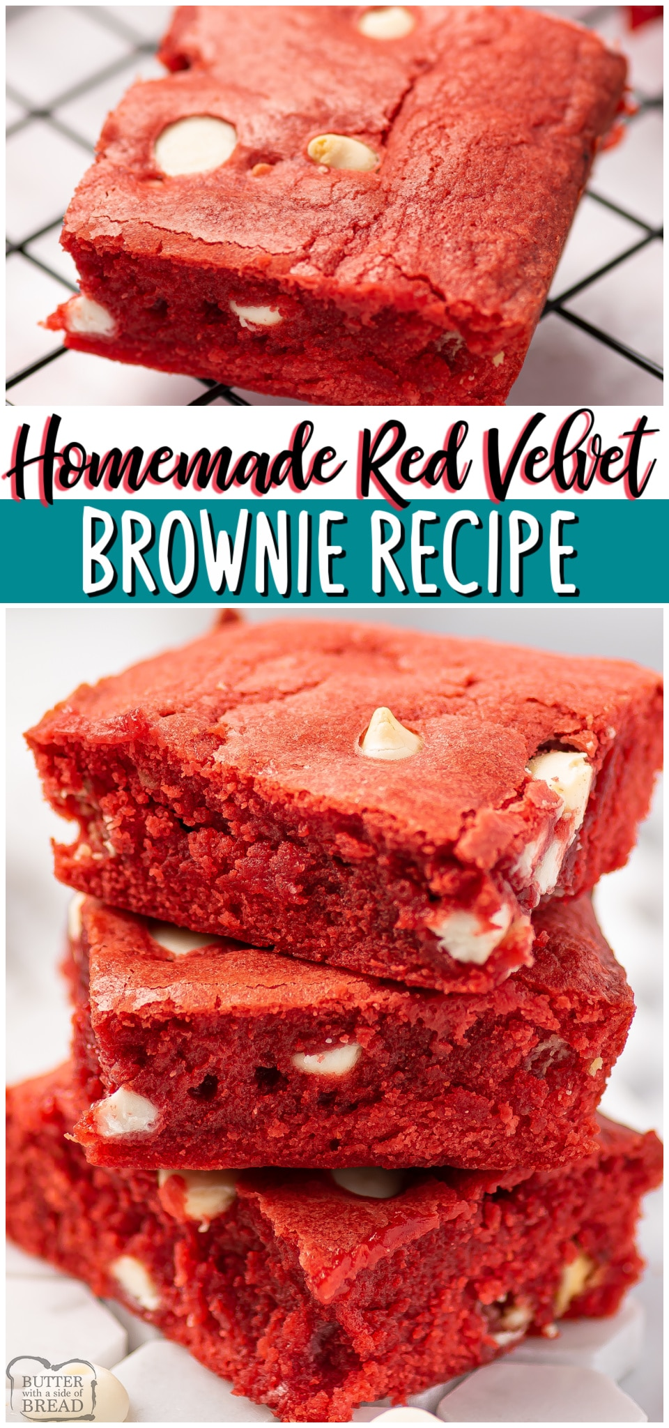 Red velvet brownies are a rich, chocolaty brownie with red velvet color, scattered with chocolate chips. Homemade Red Velvet Brownies perfect for Valentine's day!