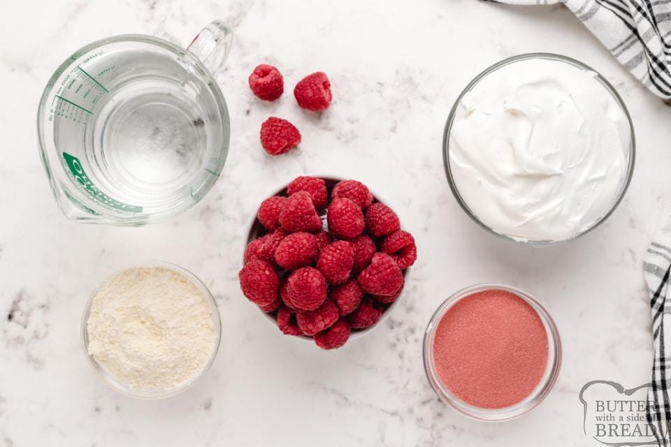 Ingredients in creamy raspberry jello