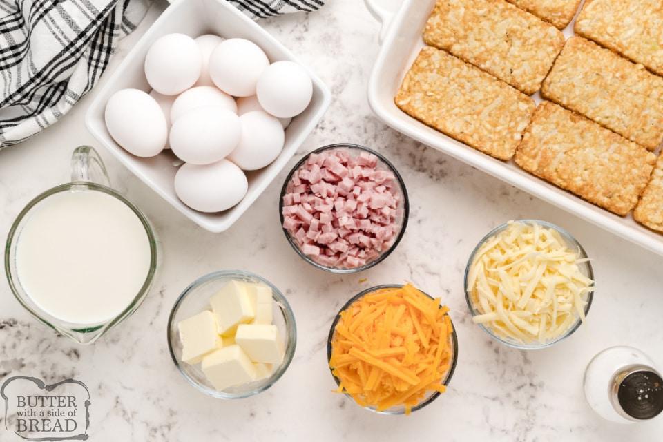 Ingredients in hash brown breakfast casserole