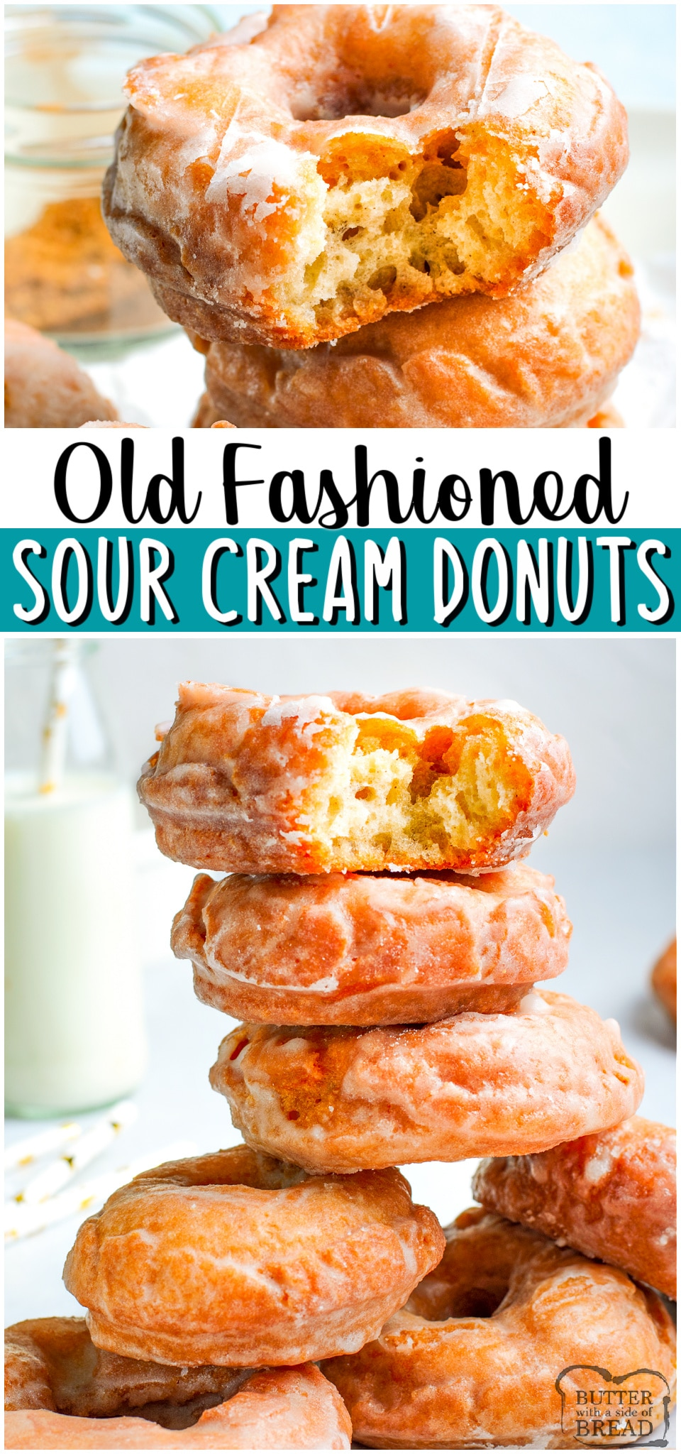 Old Fashioned Sour Cream Donuts made at home with simple ingredients! Easy donut recipe from scratch with no yeast & no rise time! Delicious, tender sour cream doughnuts with a vanilla glaze on top! #donuts #oldfashioned #sourcream #breakfast #dessert #homemade #easyrecipe from BUTTER WITH A SIDE OF BREAD