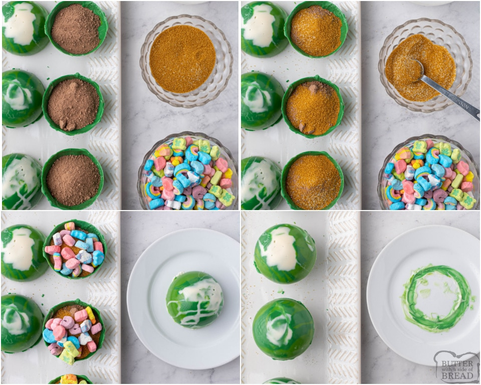 How to Make Festive St. Patrick's Day Hot Chocolate Bombs with Lucky Charms marshmallows