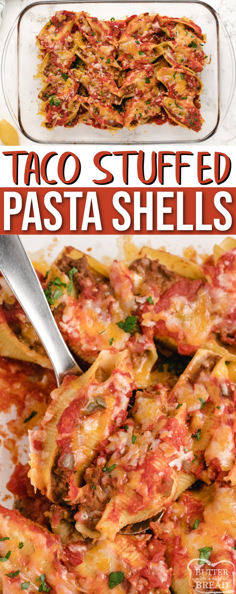 Taco Stuffed Pasta Shells made with a few simple ingredients for an easy dinner recipe that the whole family will love. Easy Mexican recipe made with pasta shells that are stuffed with seasoned ground beef and beans and topped with cheese and salsa.