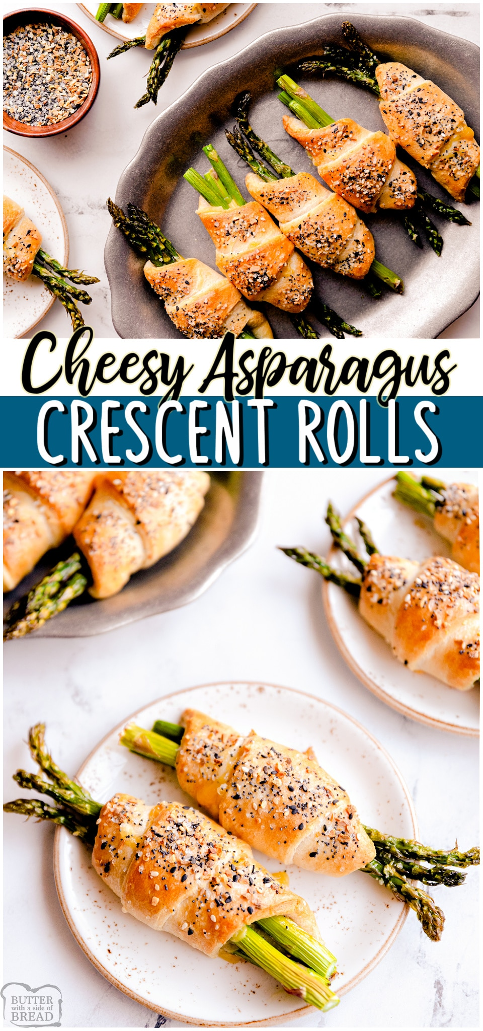 Asparagus crescent rolls are a deliciously simple appetizer made with fresh asparagus, crescent rolls & cheese! Flavorful vegetable dish that's perfect with dinner or at a party! #asparagus #crescentrolls #cheesy #appetizer #easyrecipe from BUTTER WITH A SIDE OF BREAD