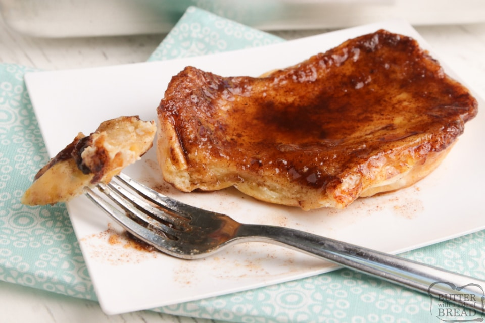 Baked Cinnamon French Toast is a simple way to make french toast for the whole family at once! Thick slices of french bread soaked in an egg mixture and then baked in a buttery, cinnamon and brown sugar mixture.