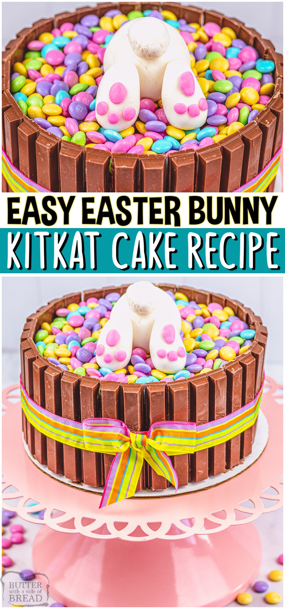Easter Bunny KitKat Cake made easy & no one can resist this darling Easter cake! KitKats line the outside of the cake and the top has a cute Easter Bunny peeking out of pastel M&M candies. #Easter #cake #KitKat #EasterBunny #easycake #easyrecipe from BUTTER WITH A SIDE OF BREAD