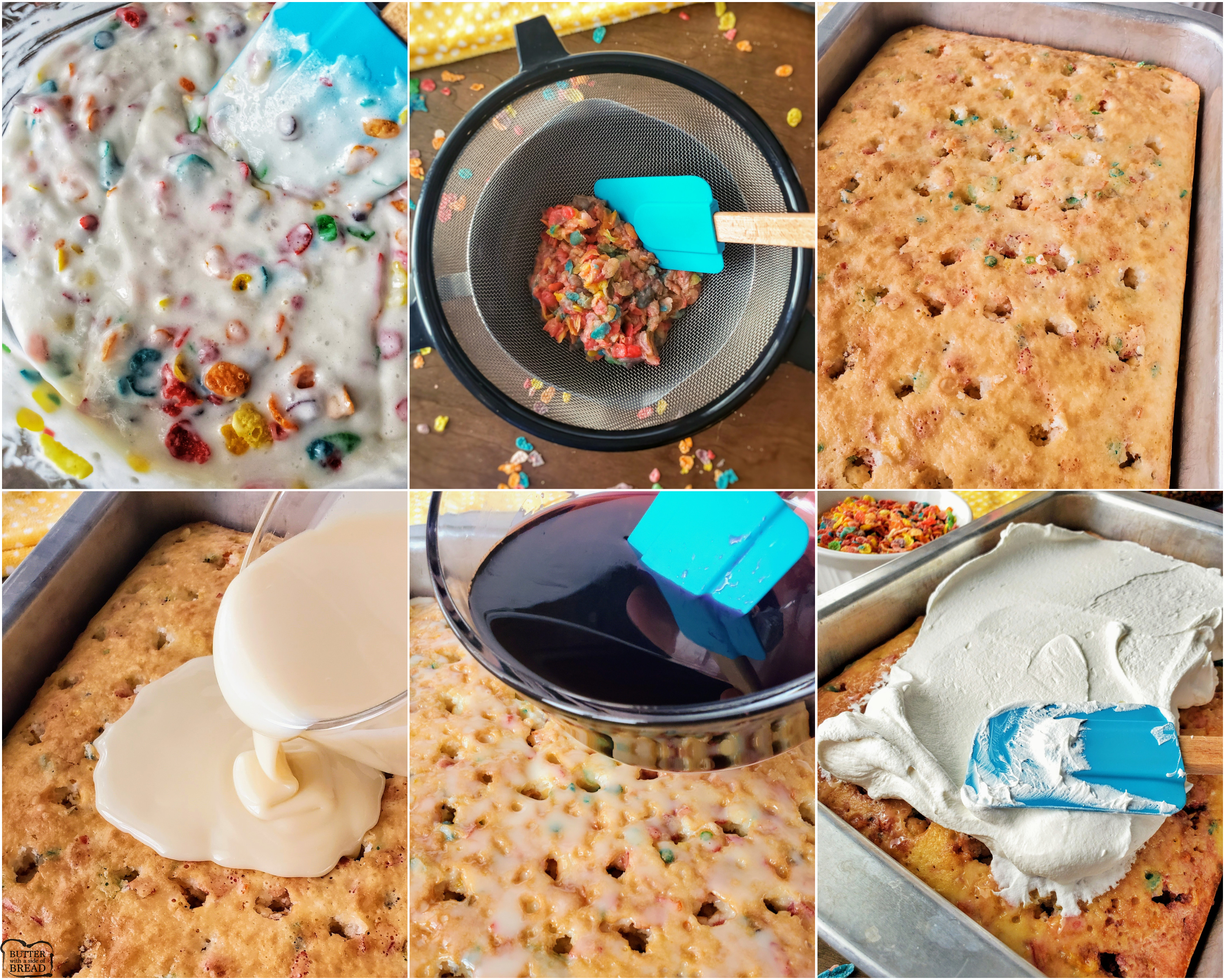 how to make a Poke cake recipe with Fruity Pebbles cereal