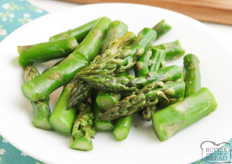 Asparagus cooked on the stove with butter, brown sugar and chicken broth