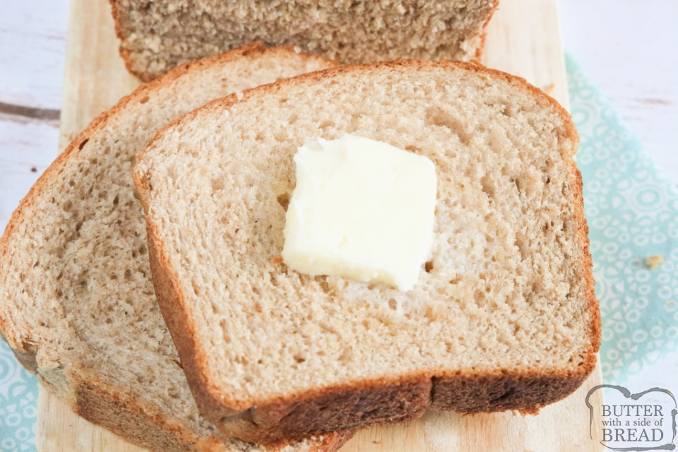 Large Batch Wheat Bread recipe that makes 4 loaves of perfect honey wheat bread every single time. I love homemade bread and this recipe is the most foolproof (and delicious) wheat bread recipe that I've ever tried.