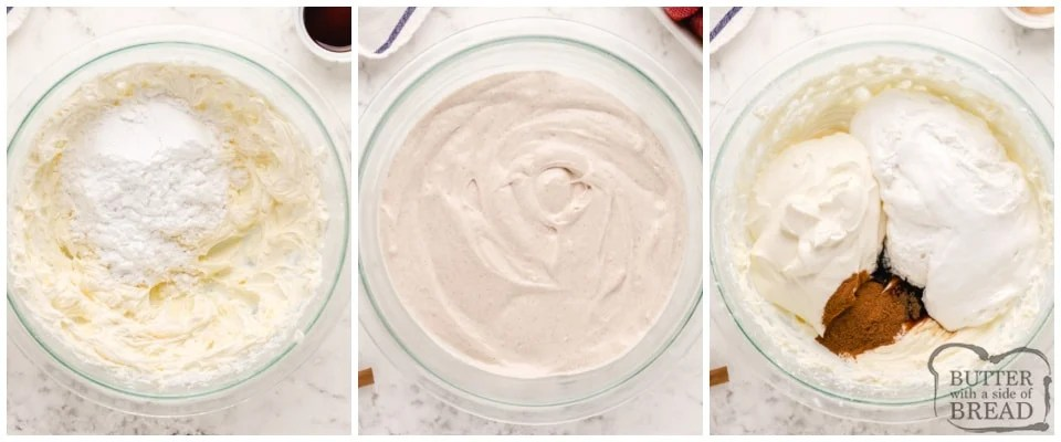 Step by step instructions on how to make cream cheese fruit dip