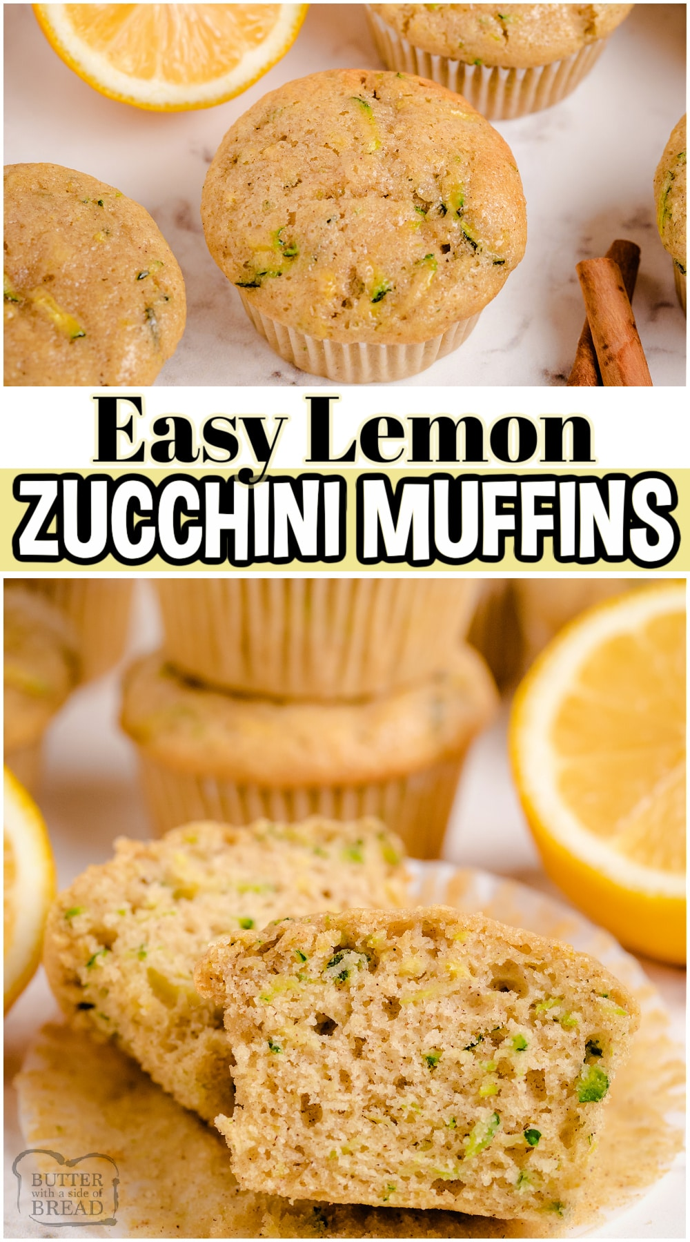 Tender Lemon Zucchini Muffins made with classic ingredients and fresh zucchini overflowing from the garden! Sweet homemade muffins spiced with vanilla and cinnamon & brushed with a tangy lemon glaze.