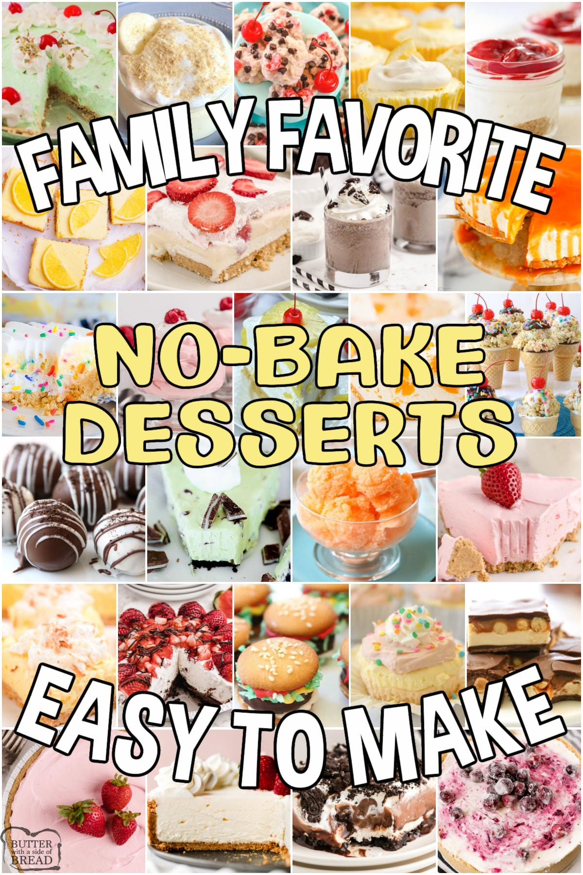 Truly the BEST collection of No-Bake Dessert recipes ever! No-bake cookies, pies, cakes, candy and more- all with few ingredients, simple directions and they taste amazing! Beat the heat with these family favorite no bake dessert recipes. #nobake #desserts #summer #easyrecipes from BUTTER WITH A SIDE OF BREAD
