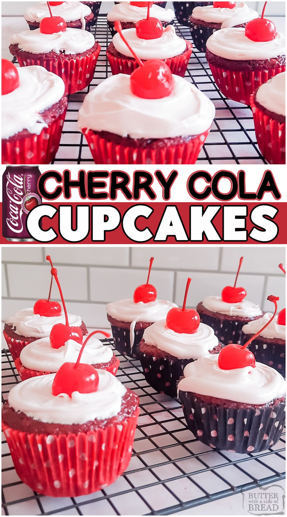 Easy cherry coke cupcakes made with boxed cake mix, maraschino cherries, and Cherry cola for a moist & flavorful chocolate cupcake! Pretty cupcakes that are simple to make with a fun twist on classic cherry flavor, due to the addition of Cherry Cola! #cupcakes #cherry #cherrycoke #soda #cola #baking #dessert #easyrecipe from BUTTER WITH A SIDE OF BREAD