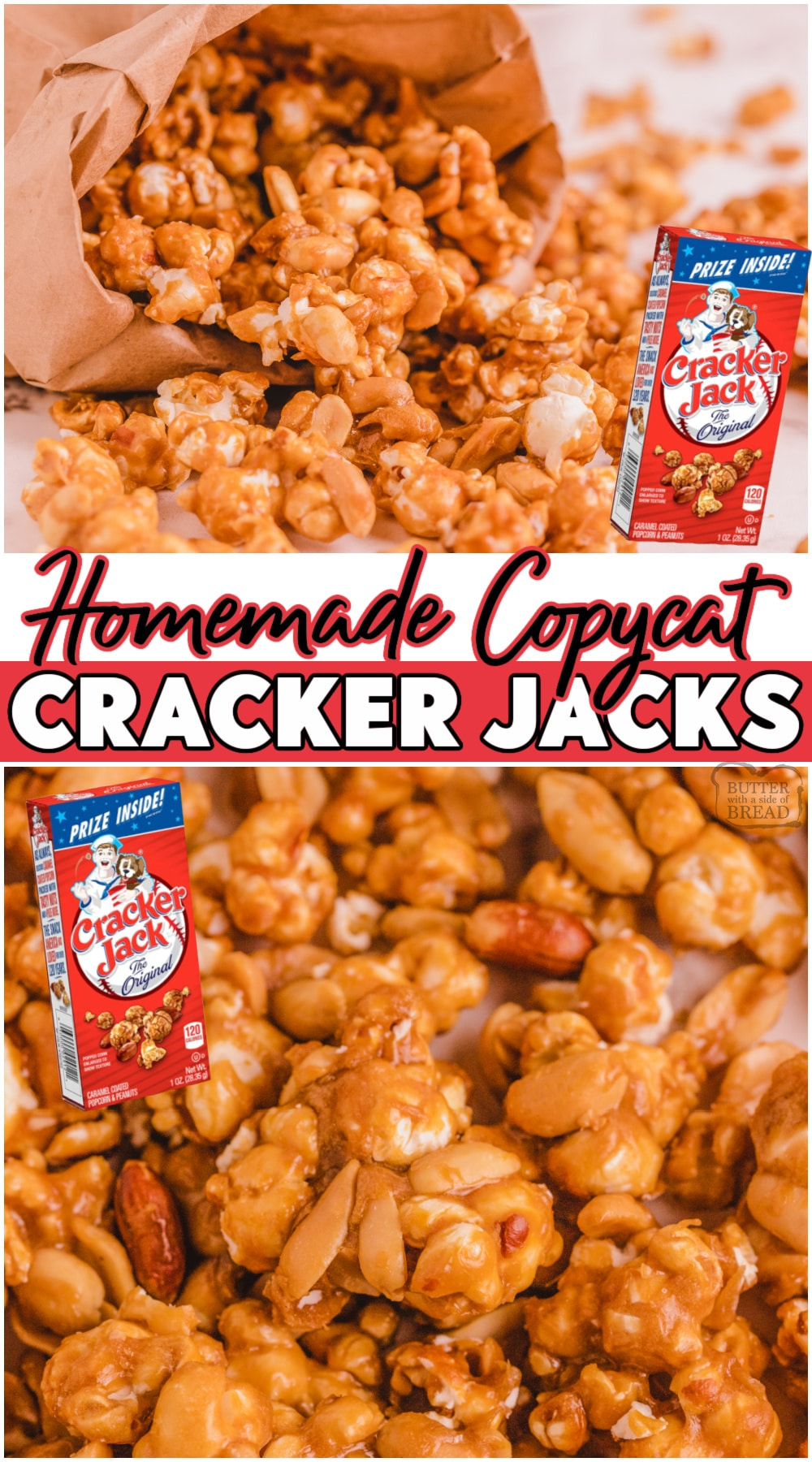 Copycat Cracker Jacks made with popcorn, butter, brown sugar & vanilla! Sweet caramel coated popcorn and peanut mix that's easily made at home! #popcorn #caramel #peanuts #CrackerJacks #easyrecipe from BUTTER WITH A SIDE OF BREAD