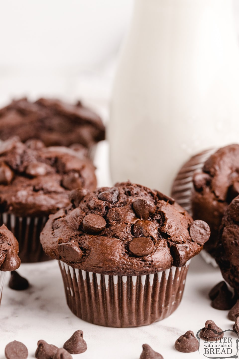 Copycat Costco Chocolate Muffins taste just like the amazing double chocolate muffins from Costco. Easy chocolate chocolate chip muffin recipe that everyone loves!