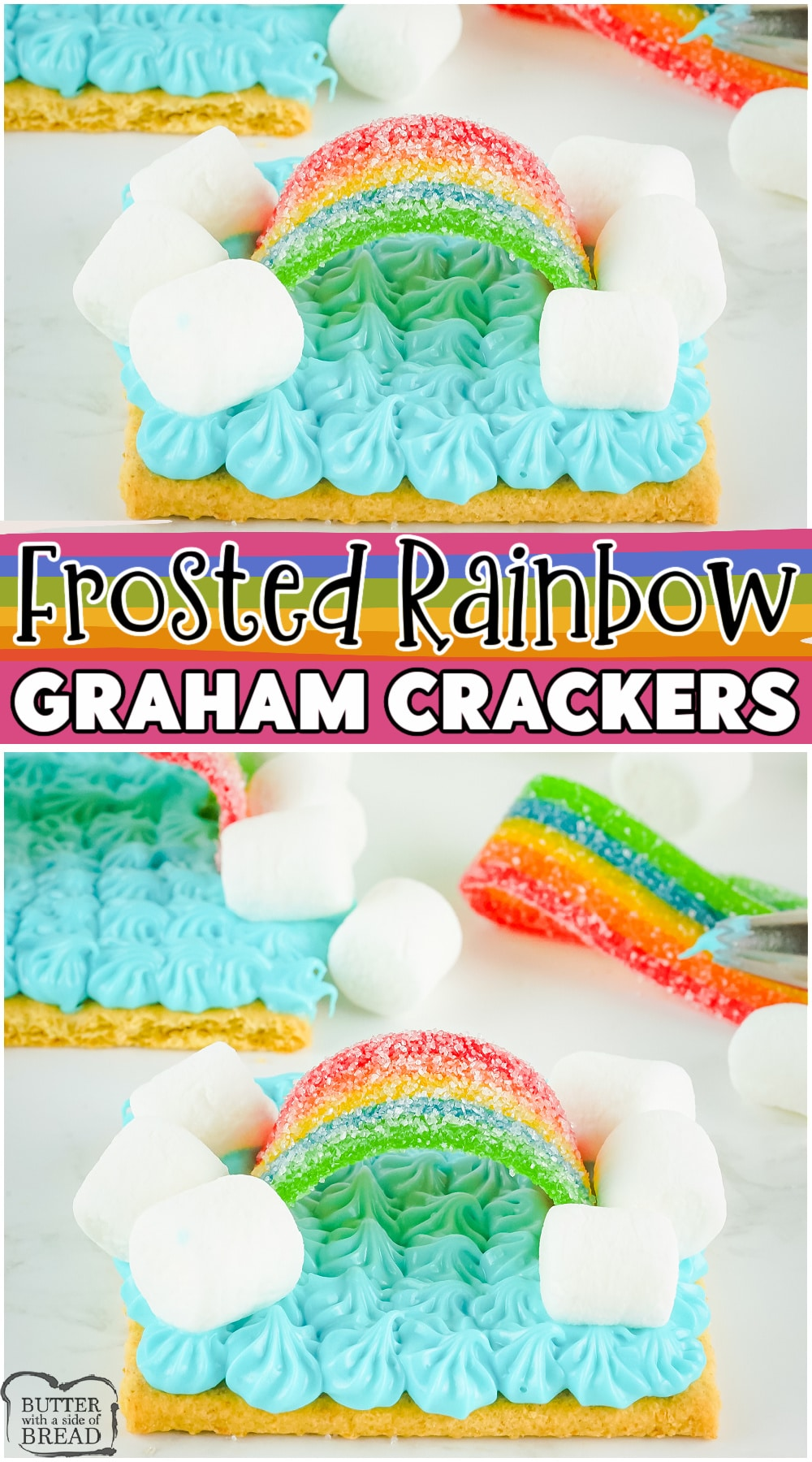 Frosted Rainbow Graham Cracker snacks made with marshmallows, frosting, & a rainbow candy stripe atop a cracker; these treats are packed with sweet fun in every bite. #snack #frosting #rainbow #crackers #easyrecipe from BUTTER WITH A SIDE OF BREAD