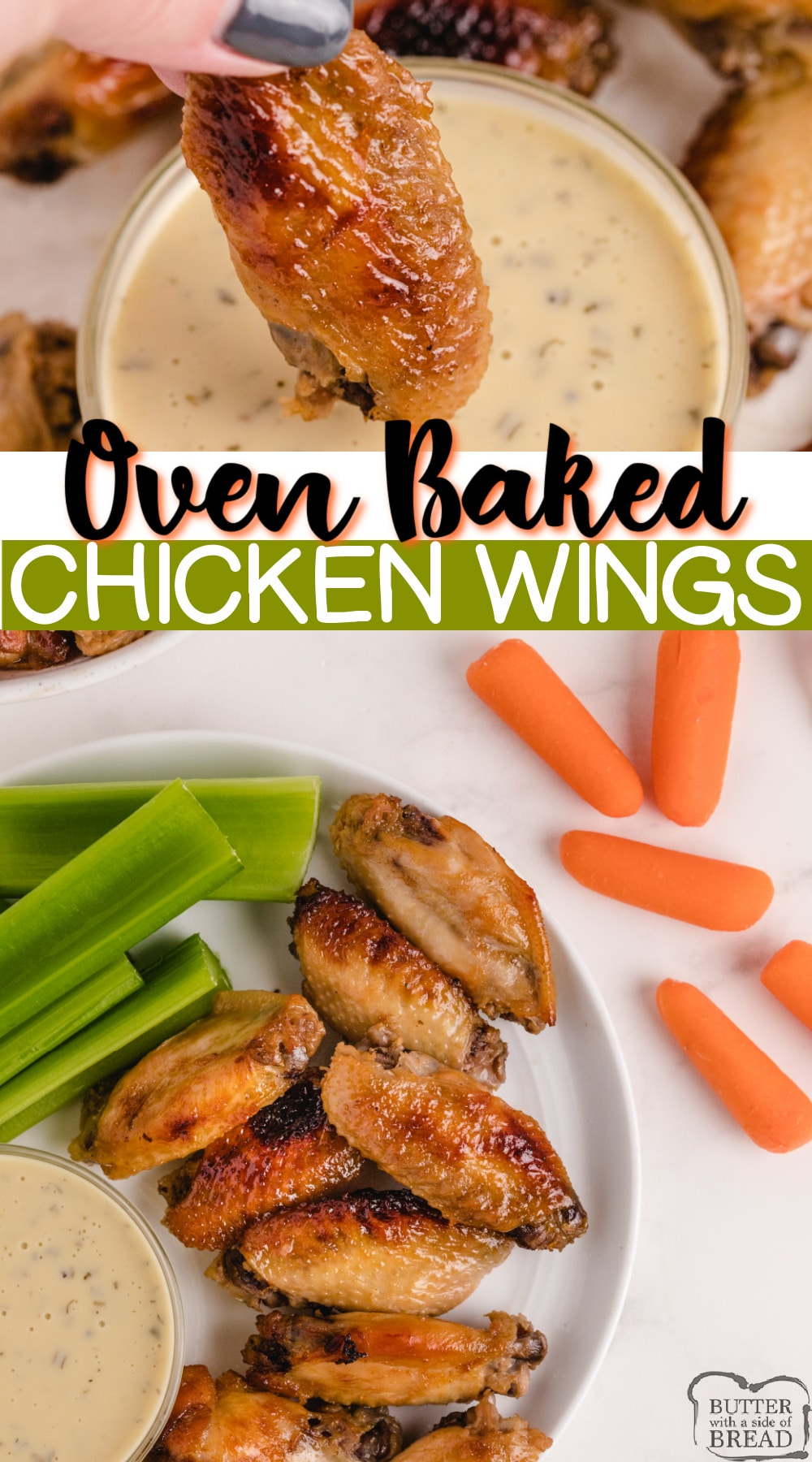 Oven Baked Chicken Wings are perfect for an appetizer, side dish or even the main course. These baked chicken wings are marinated overnight so they are tender, juicy and packed with flavor!