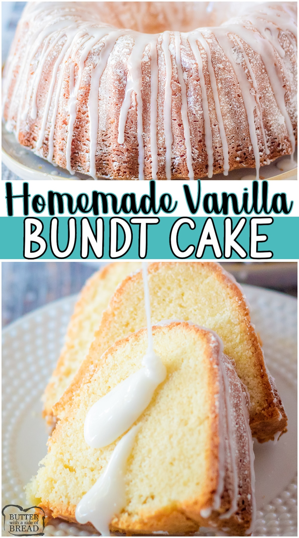 Lovely Vanilla Bundt Cake made with classic ingredients with fantastic vanilla flavor! Simple, classic bundt cake recipe that allows the vanilla flavors to shine beautifully! #cake #vanilla #bundt #baking #dessert #easyrecipe from BUTTER WITH A SIDE OF BREAD