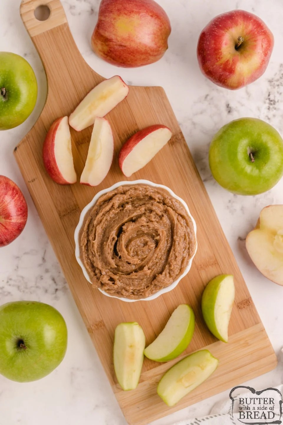 Apple dip made with peanut butter and cream cheese