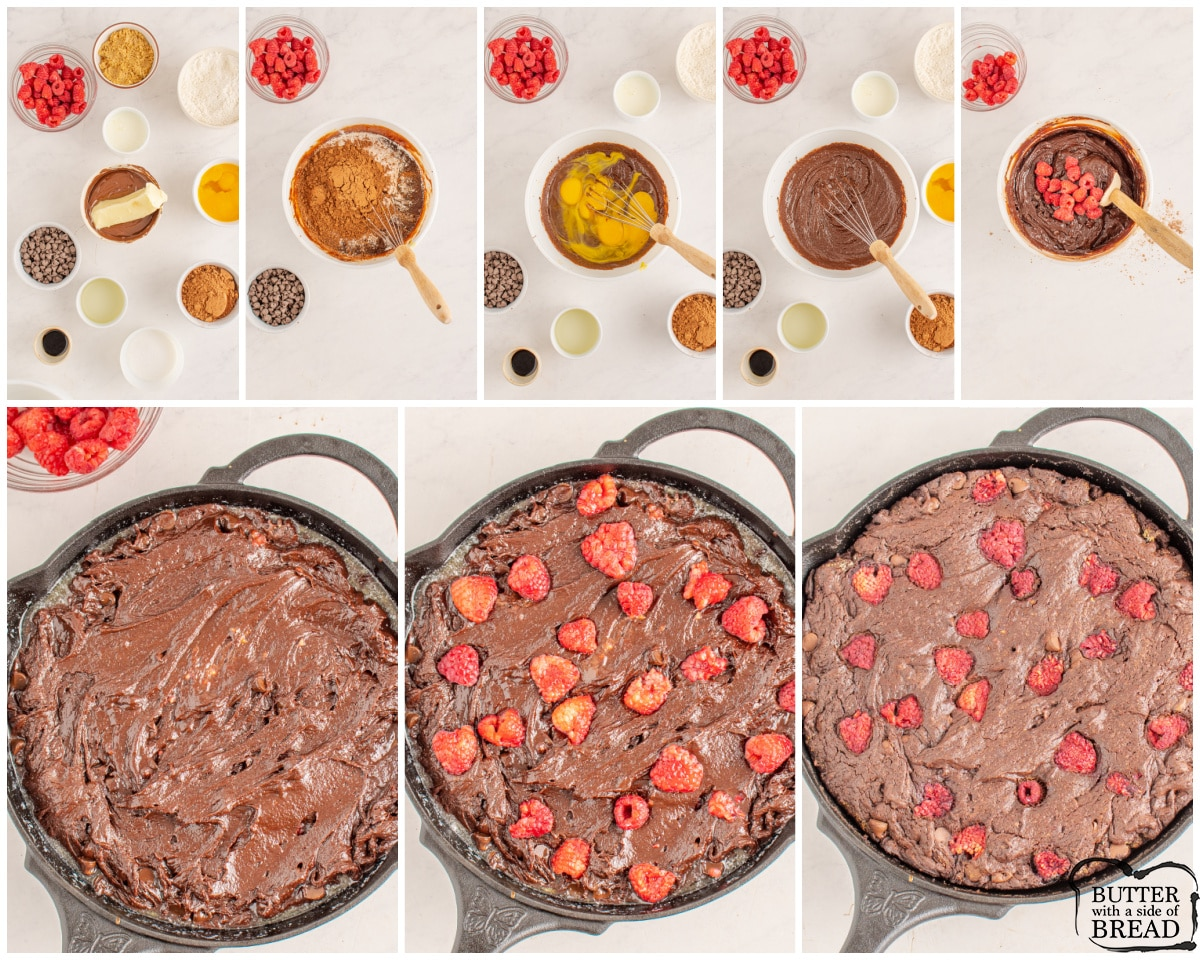 step by step images showing how to make skillet brownies with raspberries