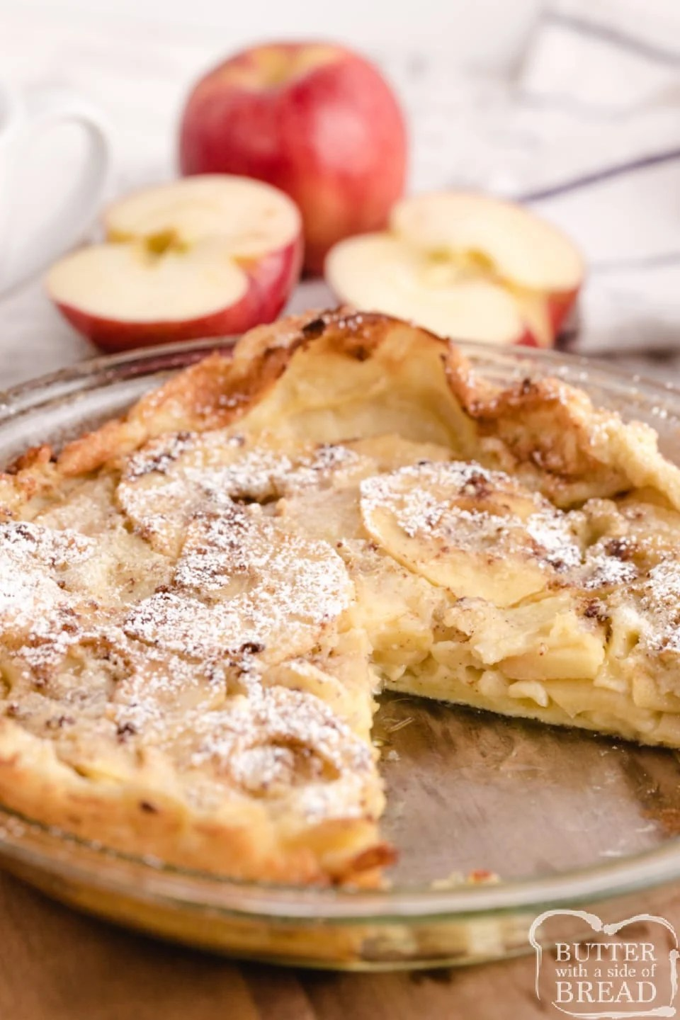 Apple German Pancake, also known as a Dutch Baby Pancake, made with flour, milk, eggs and fresh apples. The apples add so much flavor to this classic German pancake recipe!