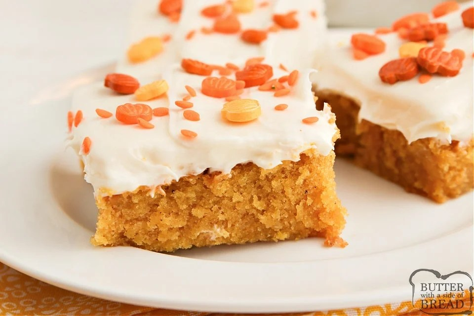 Pumpkin Brownies made with pumpkin, cinnamon and pumpkin spice and then topped with a delicious cream cheese frosting. Soft, moist and absolutely the perfect fall dessert!