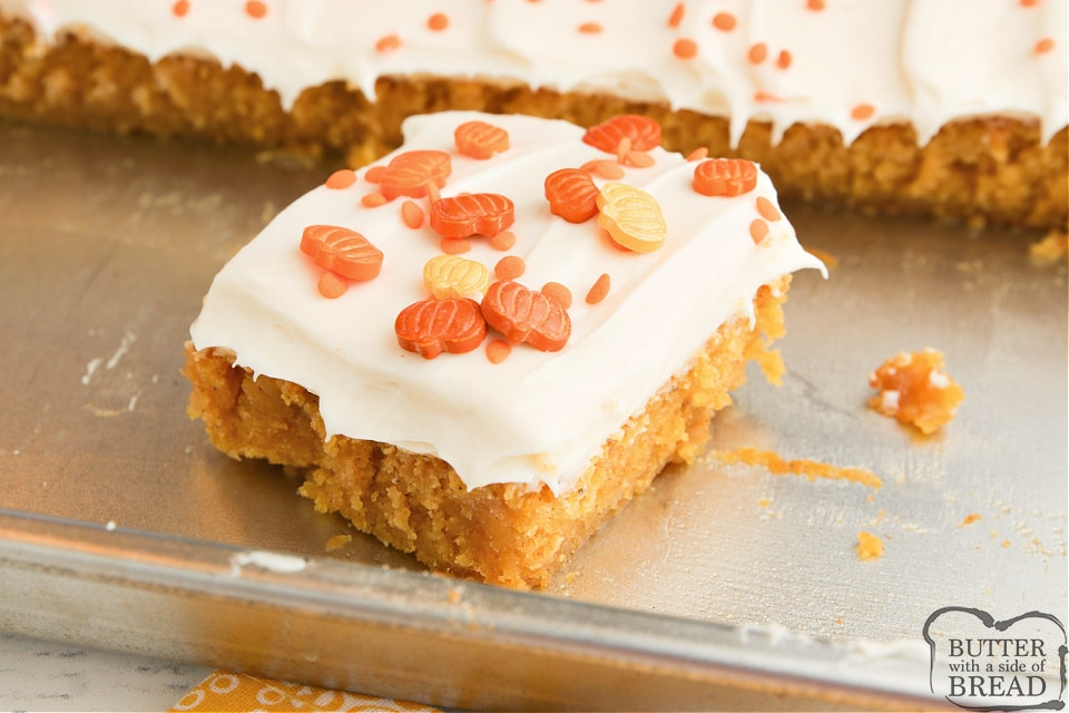 Pumpkin Brownies with cream cheese frosting