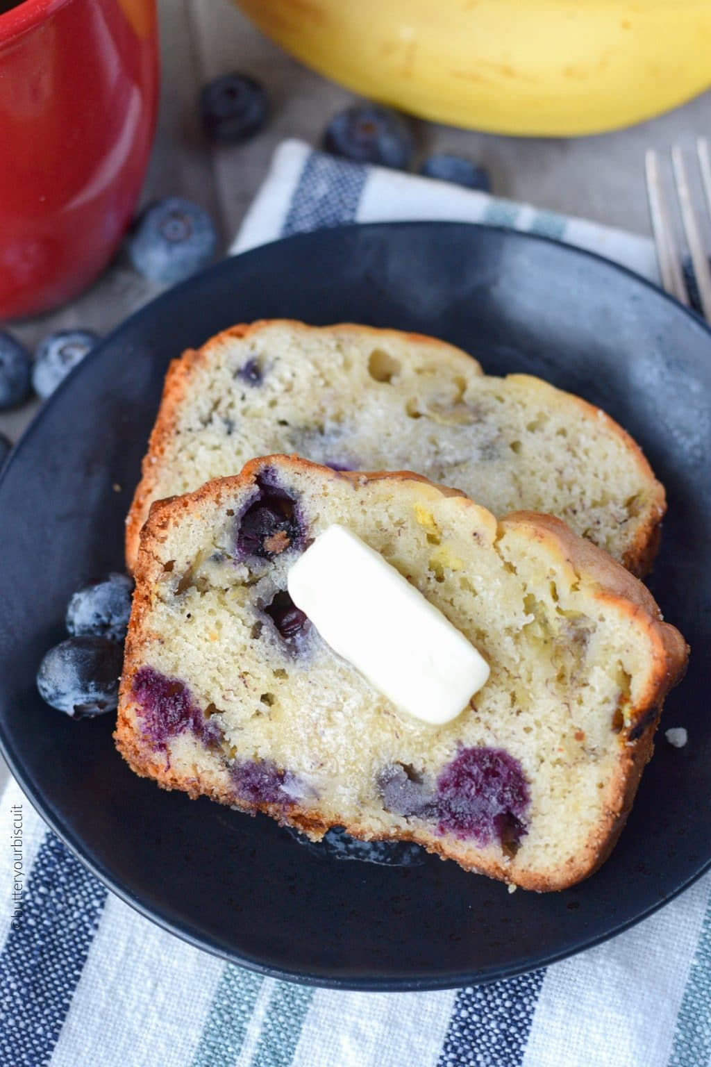 Banana Blueberry Bread With Cream Cheese Butter Your Biscuit