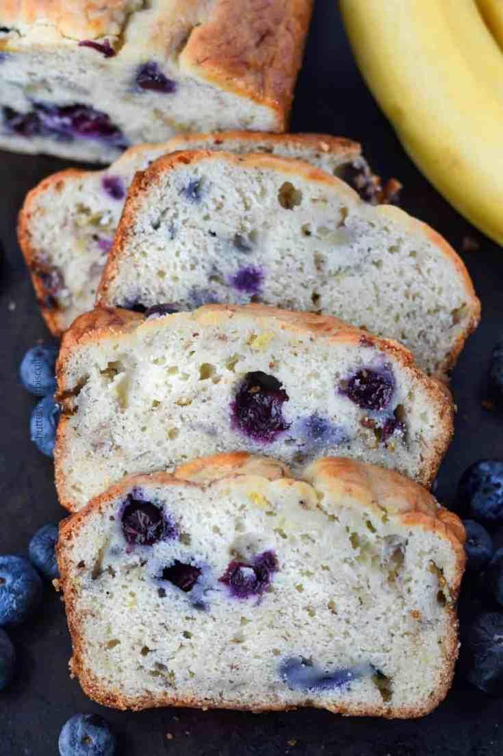 Banana Blueberry Cream Cheese Bread