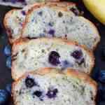 Banana Blueberry bread on a cutting board scliced